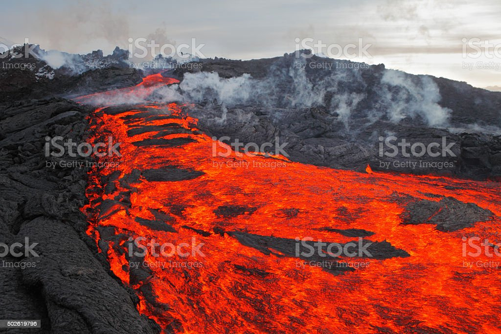 The eruption, lava, Kamchatka volcano stock photo
