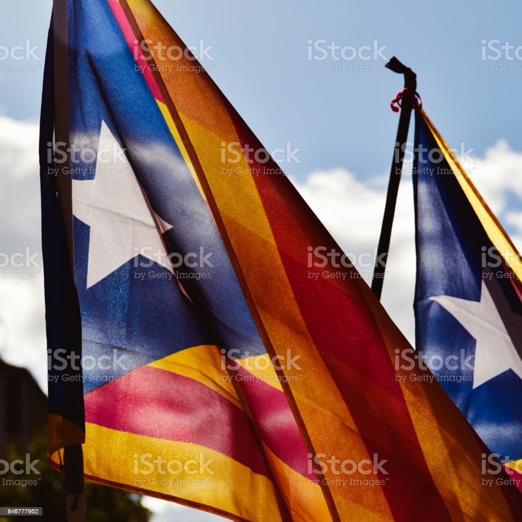 the estelada, the catalan pro-independence flag stock photo