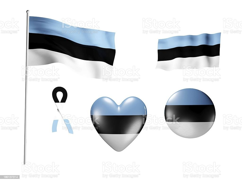 The Estonia flag - set of icons and flags royalty-free stock photo