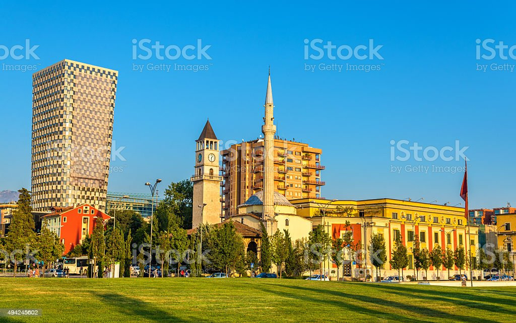 The Et'hem Bey Mosque in Tirana - Albania stock photo