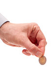 the Euro coin in the man's hand