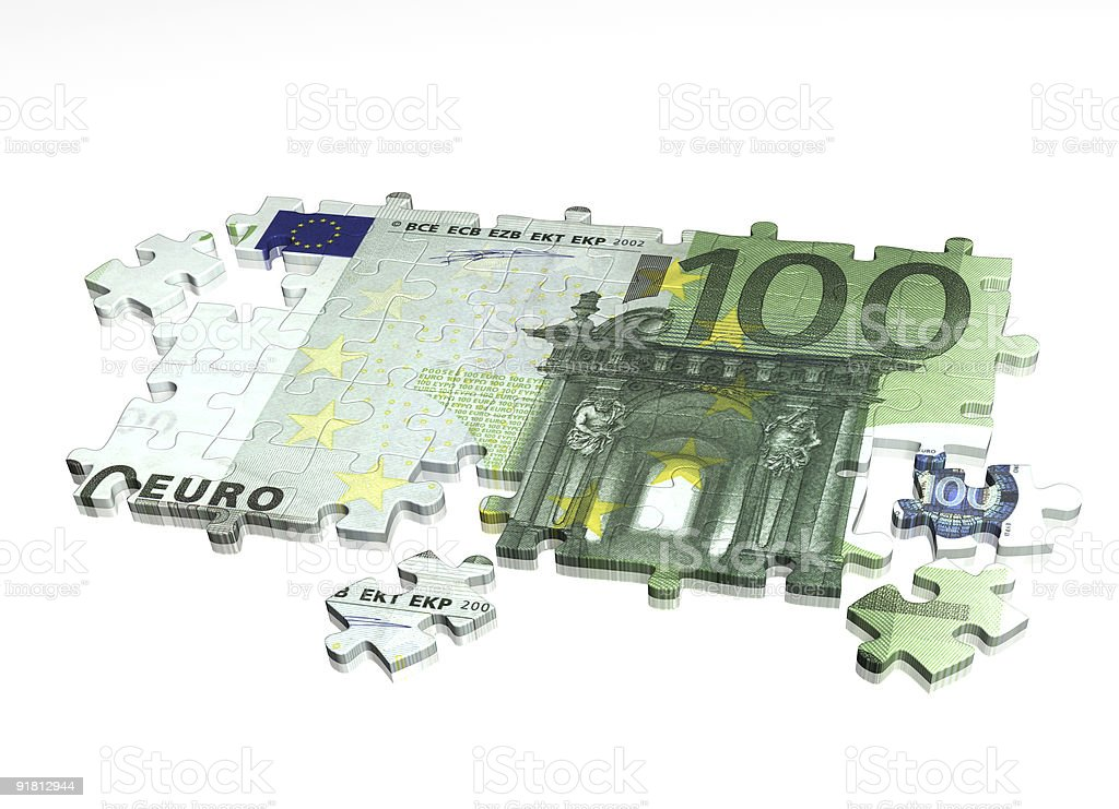 The Euro divided up like pieces of a puzzle royalty-free stock photo