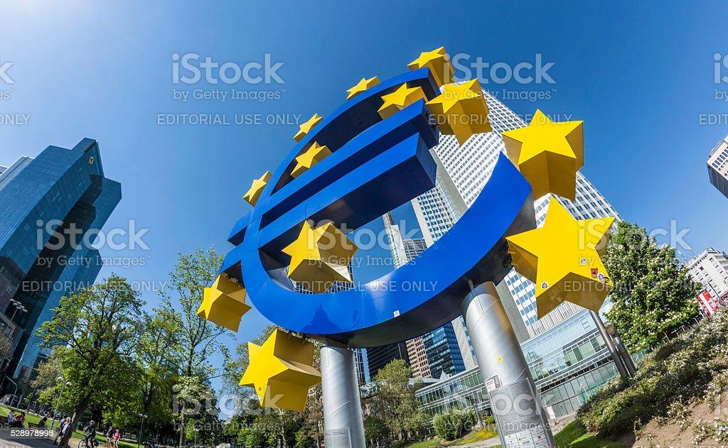 The Euro sign on a sunny day, Frankfurt am Main stock photo