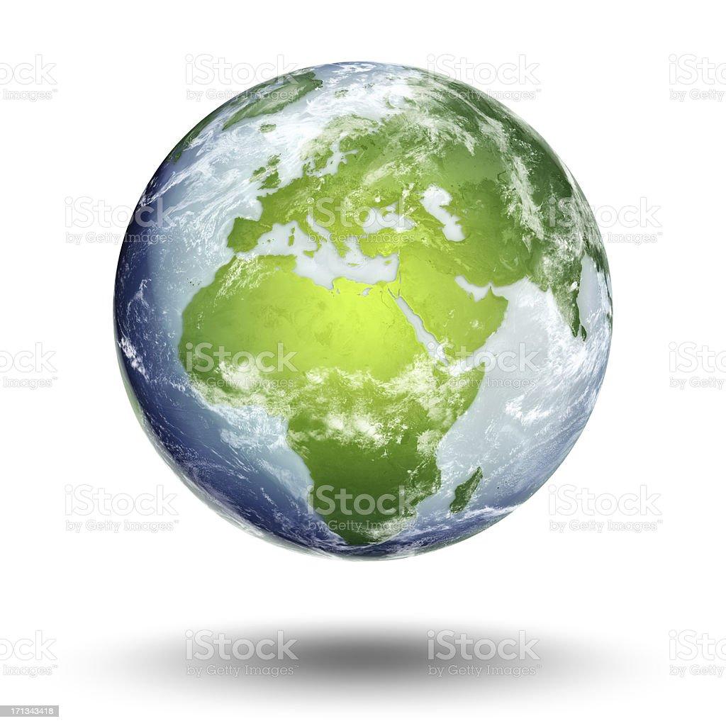 The European Eastern hemisphere on a globe isolated on white stock photo