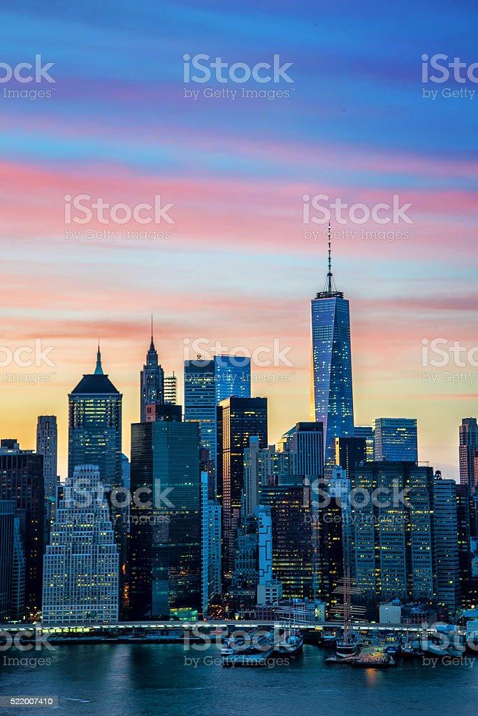 The evolving Downtown Manhattan skyline stock photo
