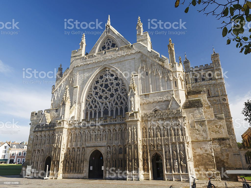 The Exeter Cathedral in Devon, England stock photo