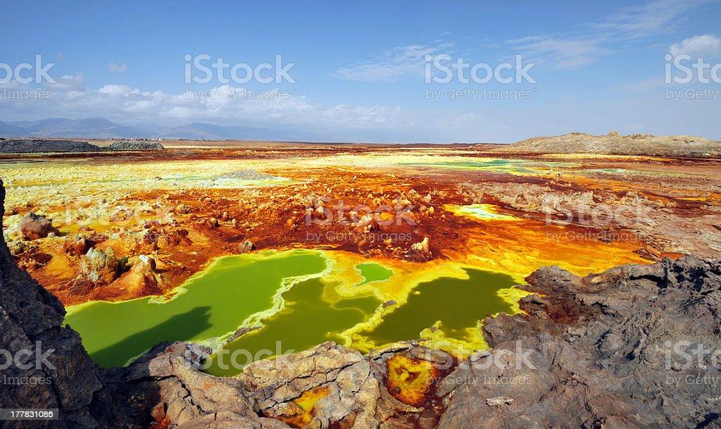 The explosion crater of Dallol volcano, Danakil Depression, Ethiopia stock photo