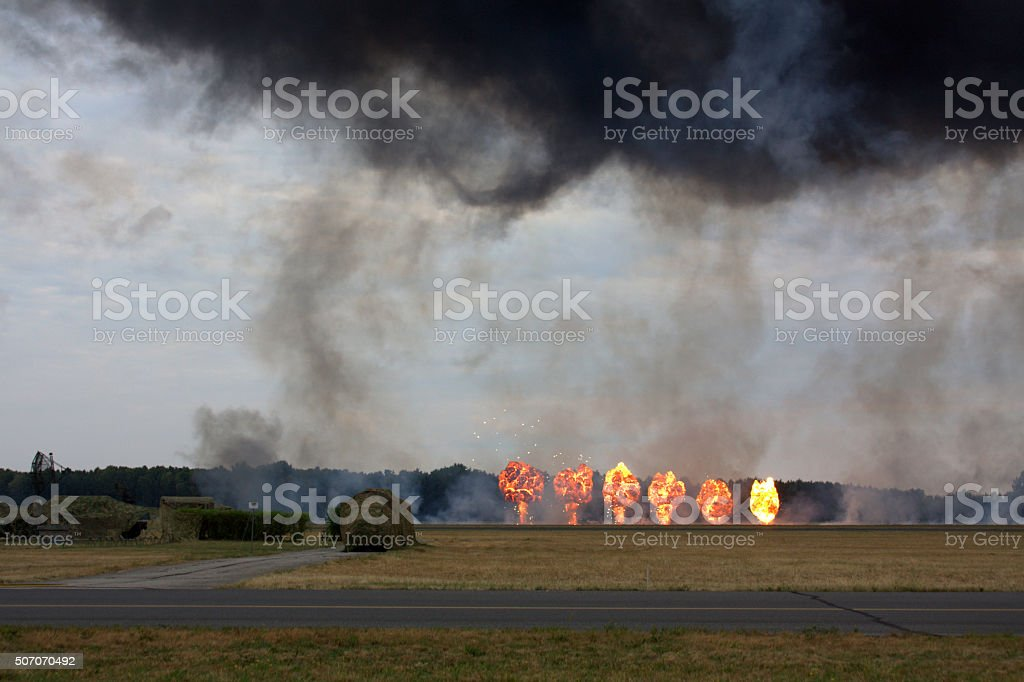 The explosions at a military range stock photo