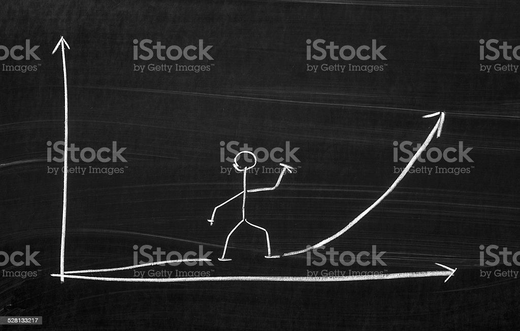 The exponential growth chart stock photo