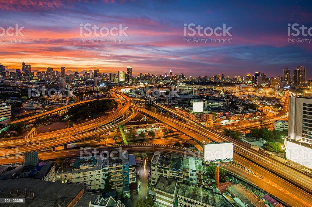 The expressway of Bangkok city with colourful sky twilight stock photo