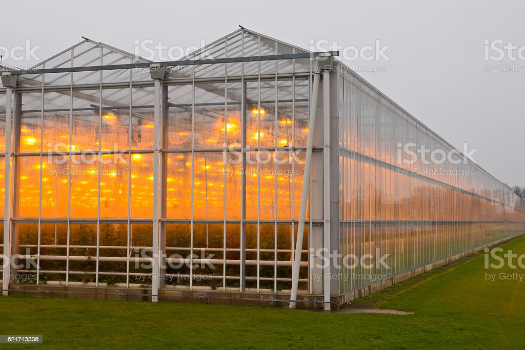 The exterior of a greenhouse stock photo