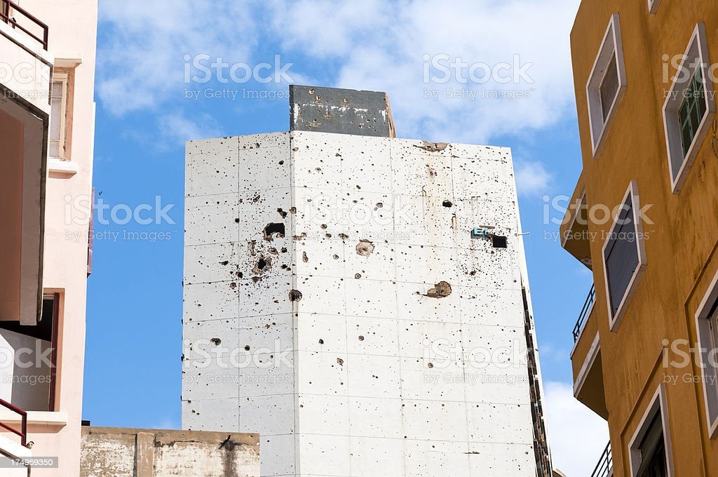 War-damaged Holidy Inn in Beirut, Lebanon stock photo
