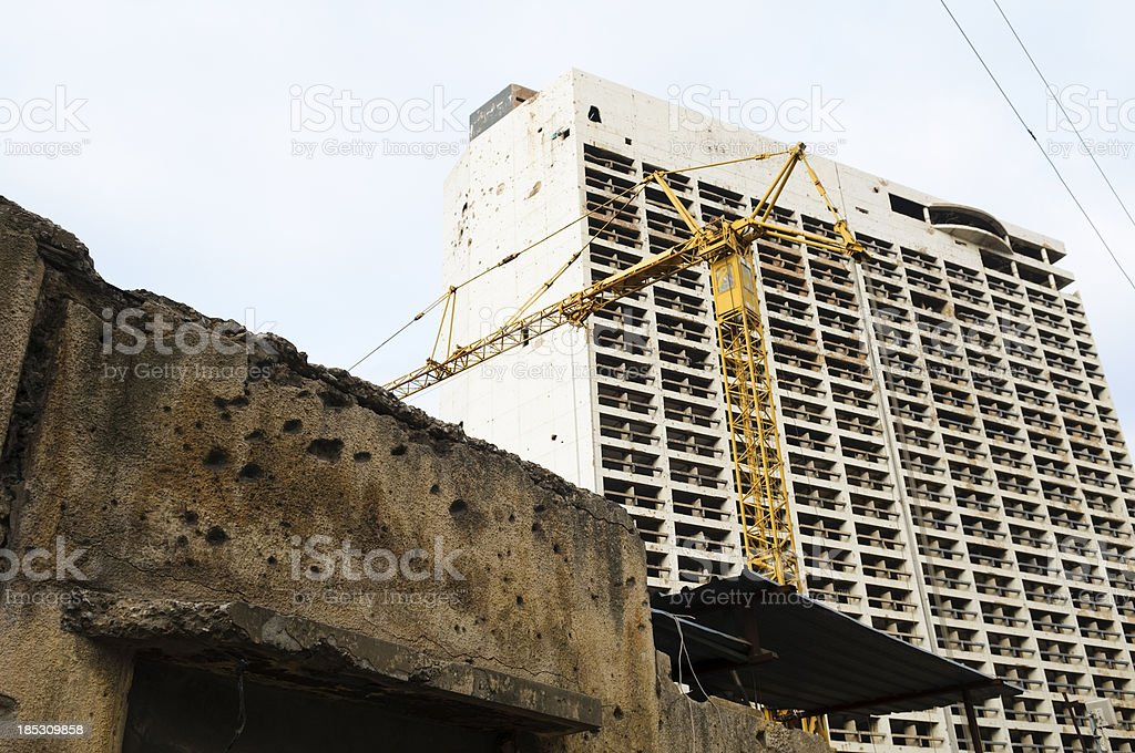 War damage and reconstruction in Beirut, Lebanon stock photo