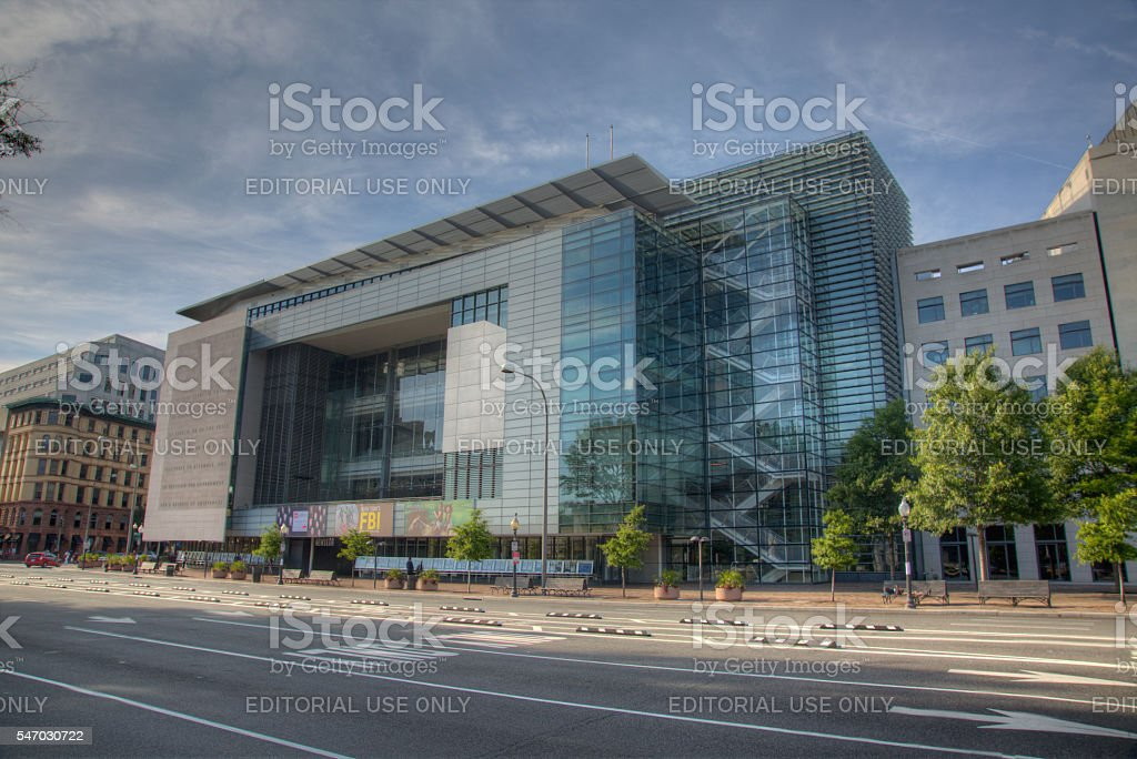 The exterior of the Newseum interactive museum in Washington DC stock photo