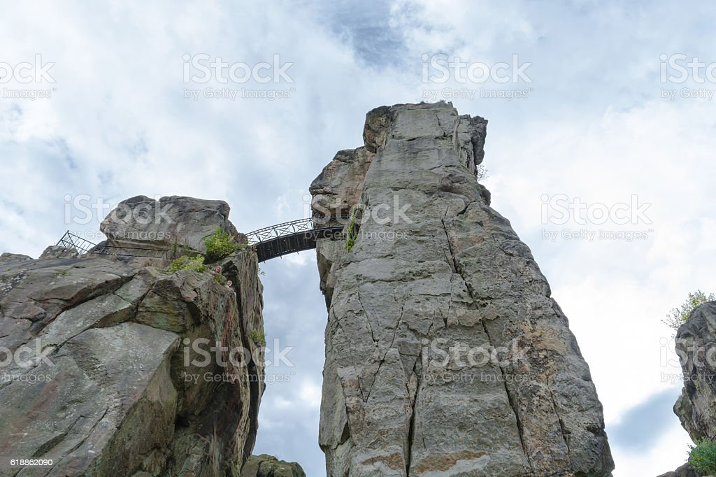 The external stones, salient sandstone formation in the Teutobur stock photo