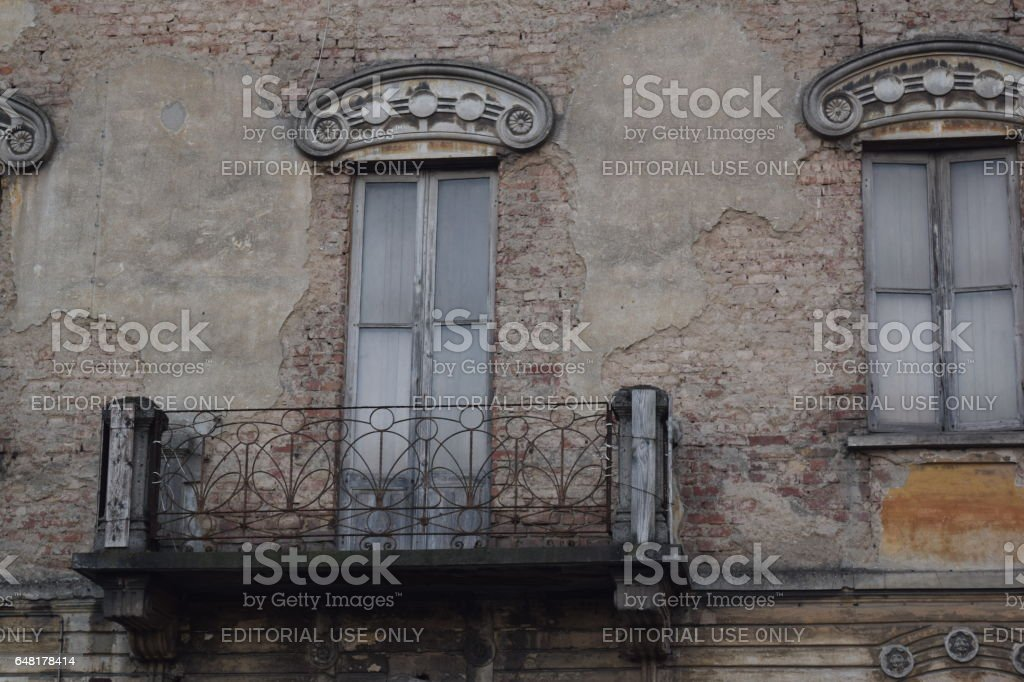 The external wall geometrical greek fret and the railing wrought iron artdéco stock photo