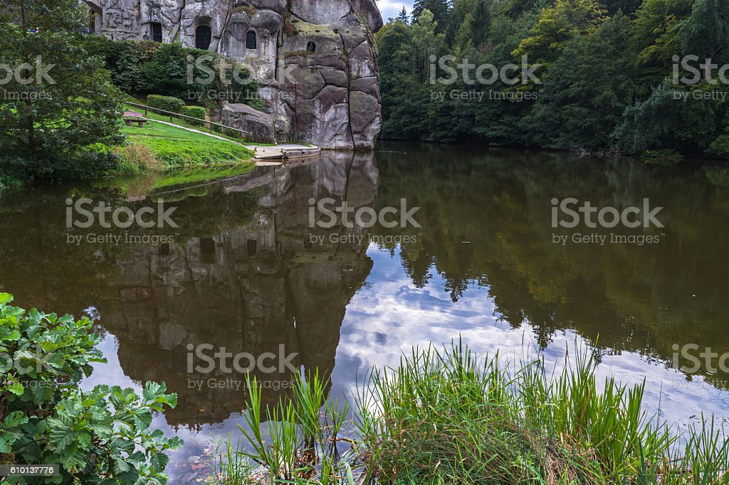 The Externsteine, striking sandstone rock formation in Germany. stock photo