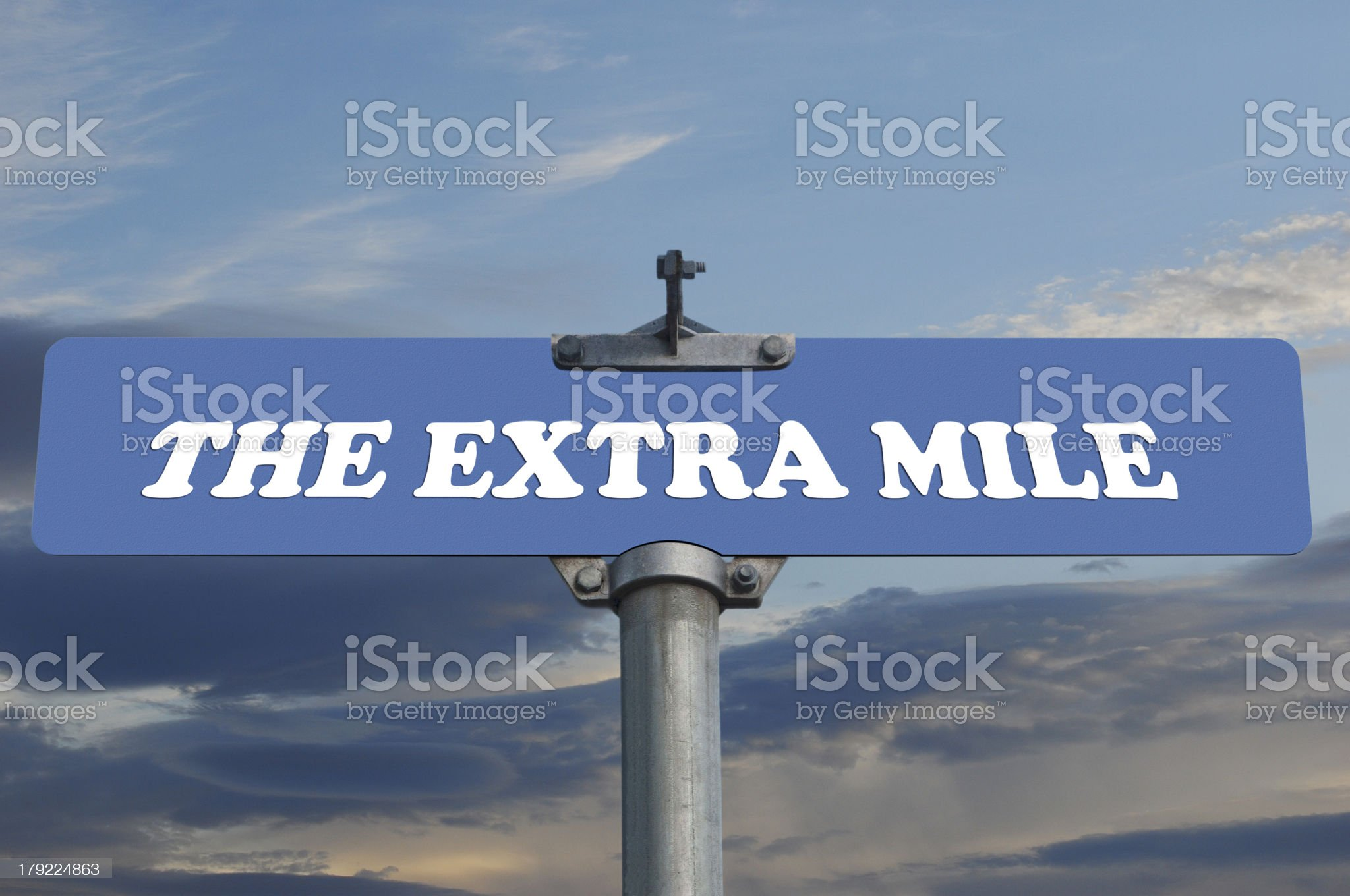 The extral mile road sign royalty-free stock photo