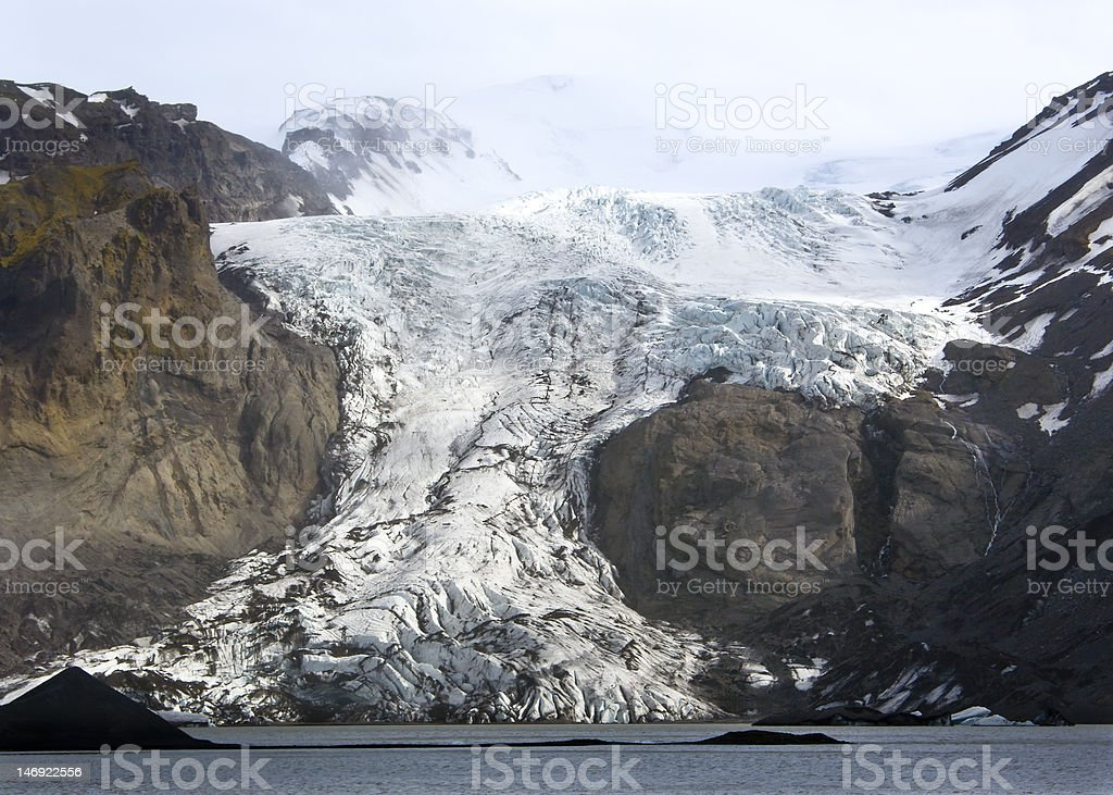 The Eyjafjallajokull glacier Iceland (volcano activity) stock photo