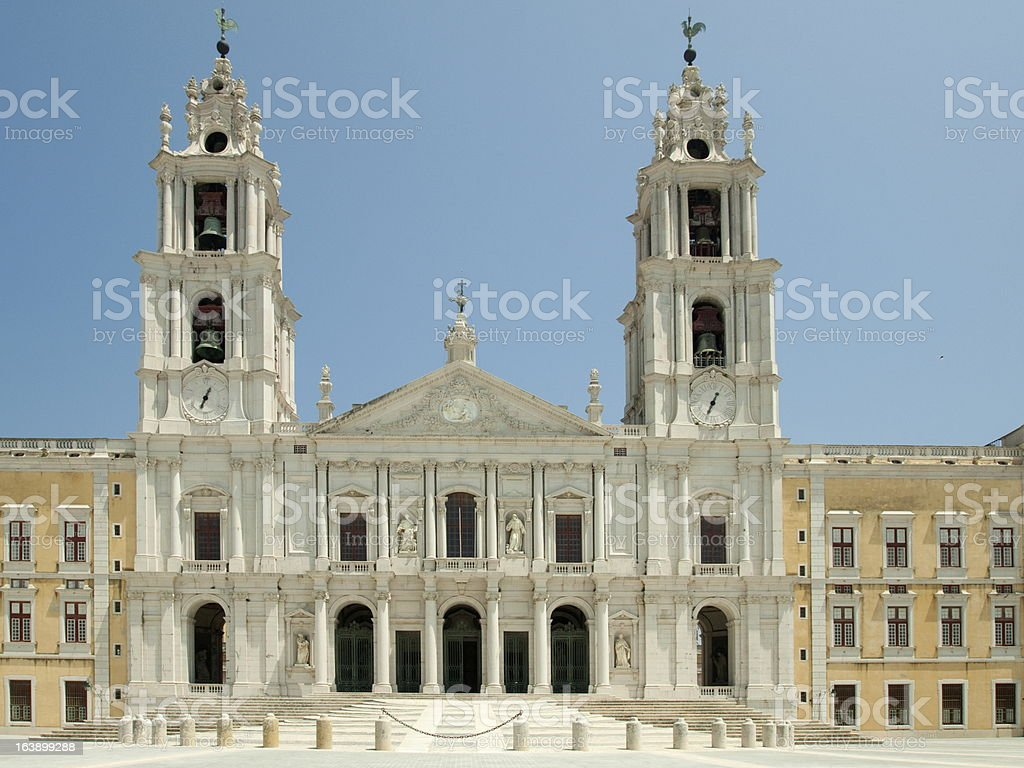 The Facade - National Palace of Mafra royalty-free stock photo