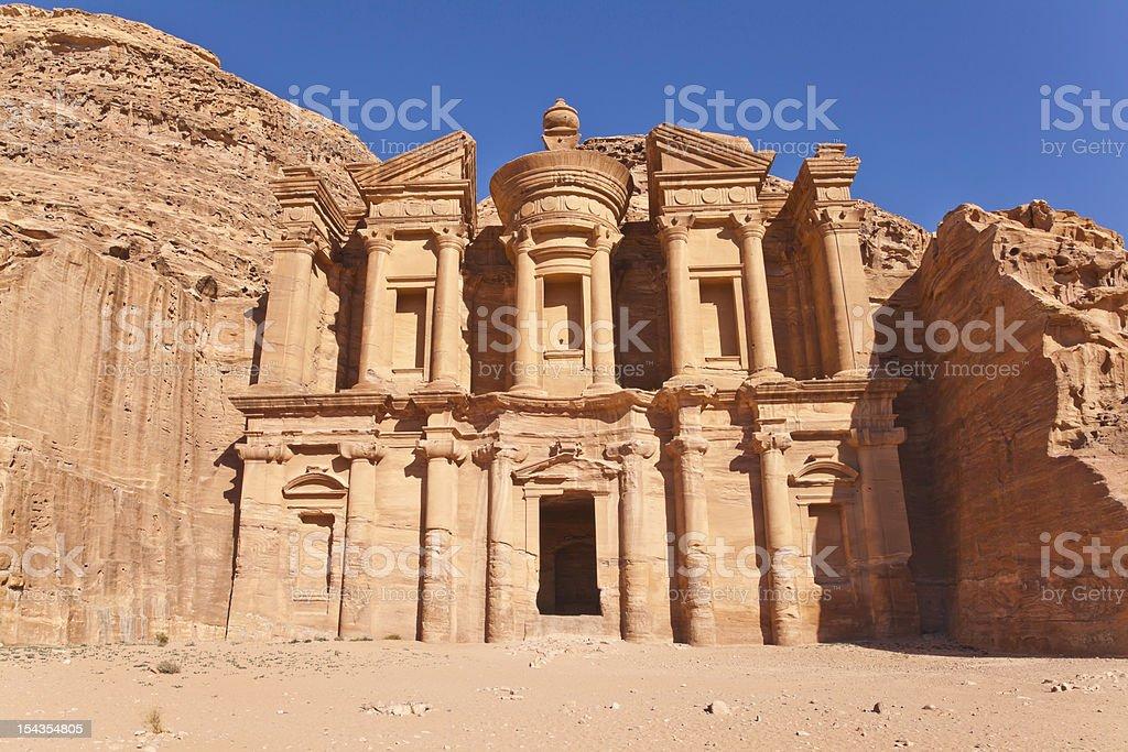 the facade of monastery stock photo