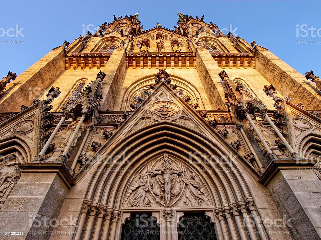 The facade of the cathedral of St. Wenceslaus stock photo