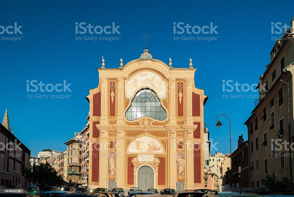 The facade of the 'San Salvatore' church in Genoa stock photo