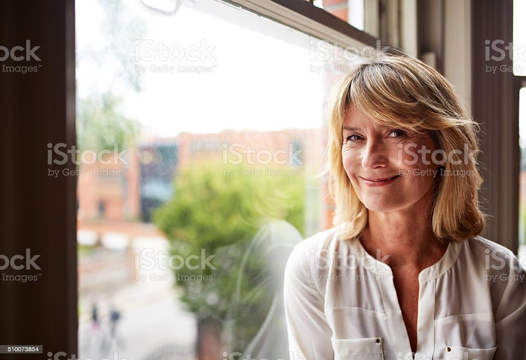 The face of contentment stock photo