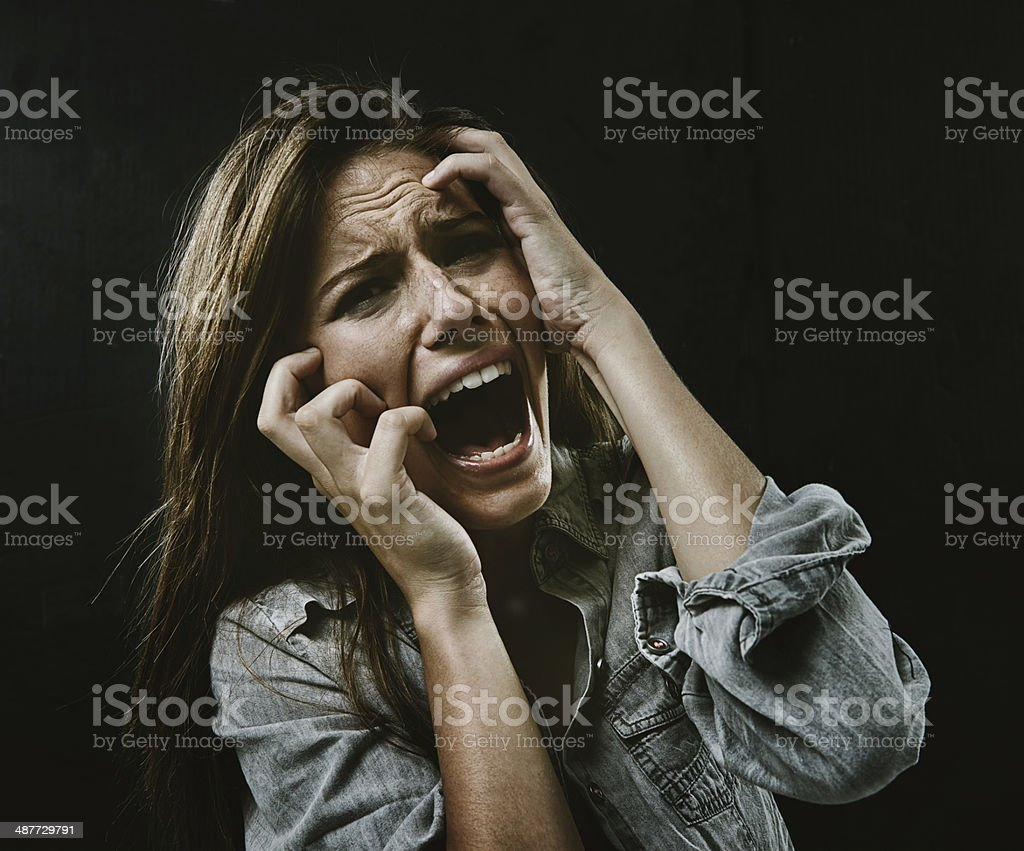 The face of desperation stock photo