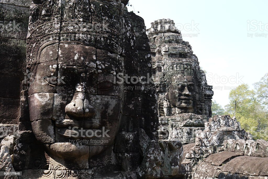 The Faces of Bayon Temple stock photo