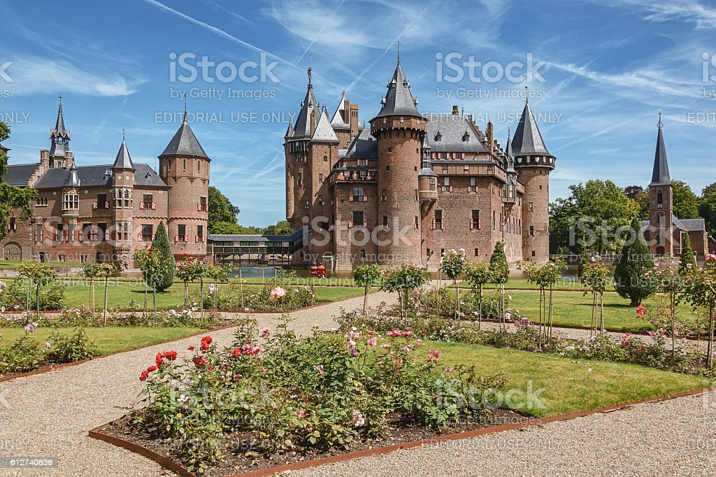 The fairytale Kasteel de Haar is located in the Dutch stock photo