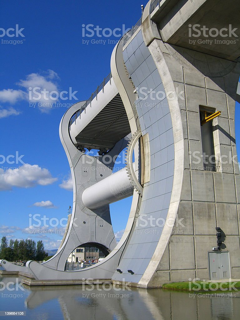 The Falkirk Wheel from reverse side stock photo