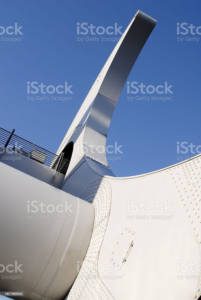 The Falkirk wheel in Scotland against a blue sky stock photo
