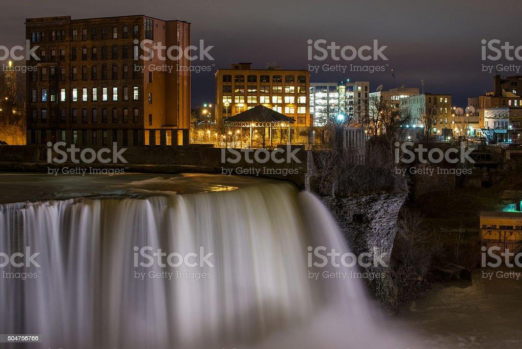 The Falls at Night stock photo