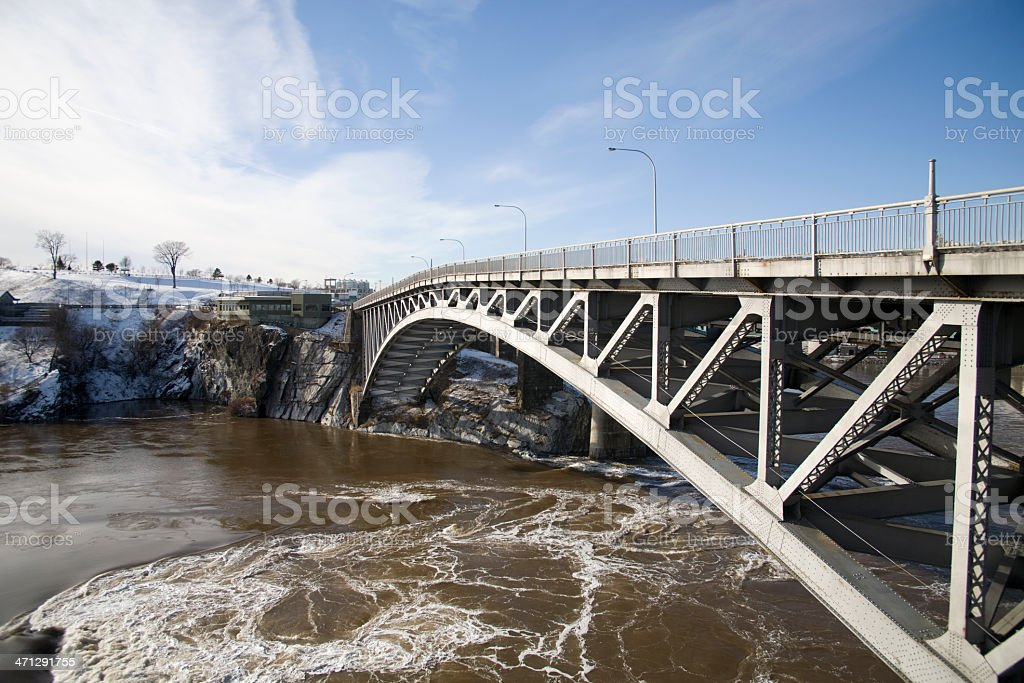 The falls bridge stock photo