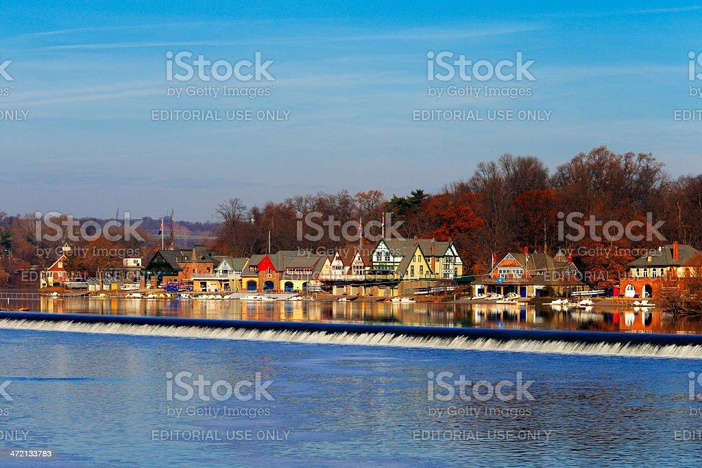 The famed Philadelphia's boathouse row in Fairmount Dam Fishway stock photo