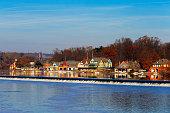 The famed Philadelphia's boathouse row in Fairmount Dam Fishway