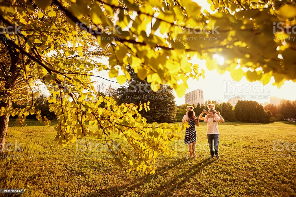 The family park. Happy parents with children walk nature evening stock photo