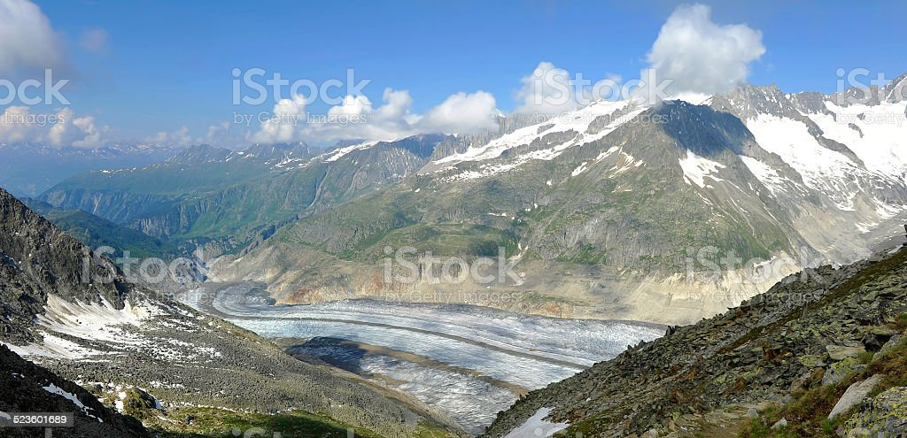 The famous Aletsch Glacier stock photo