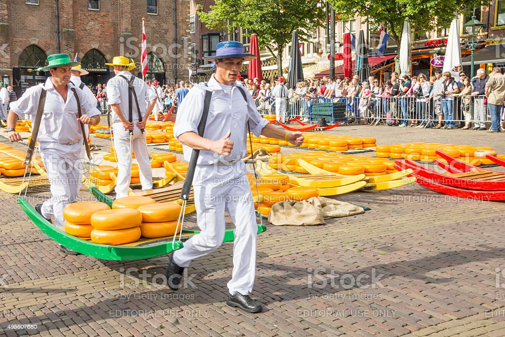 The famous Alkmaar Cheese Market in Netherlands stock photo