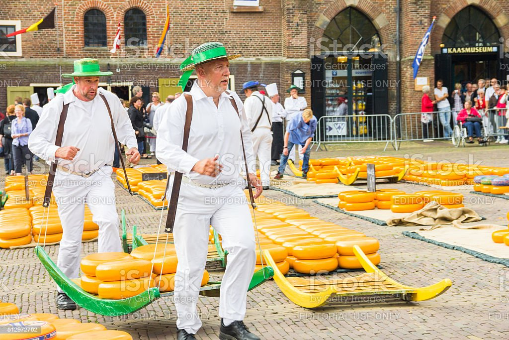 The famous Alkmaar Cheese Market in Netherlands stock photo