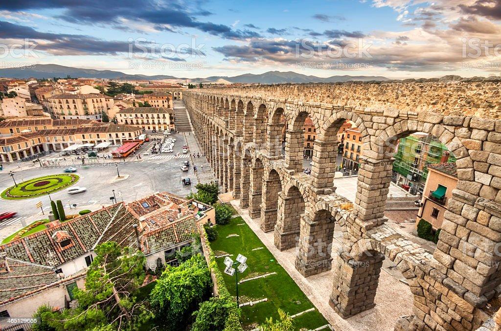 The famous ancient aqueduct in Segovia, Castilla y Leon, Spain stock photo