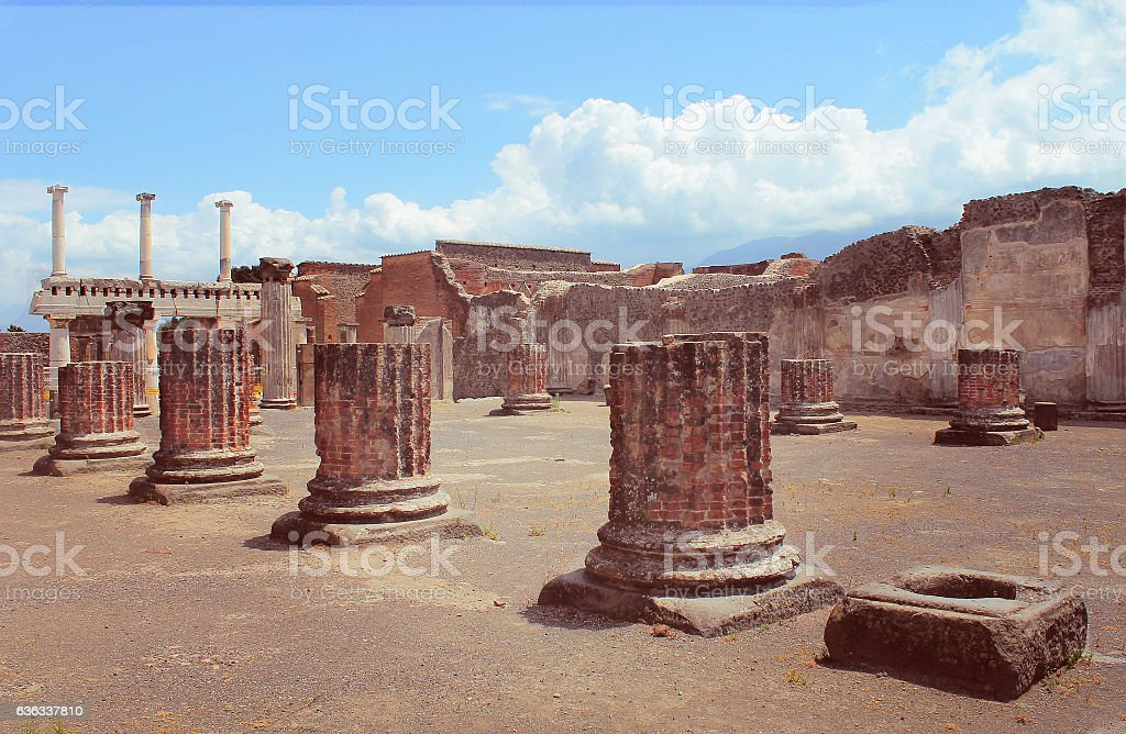 The famous ancient city of Pompeii, near Naples in Italy. stock photo