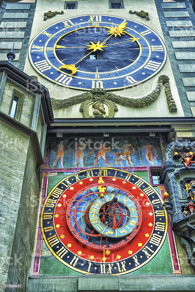 The Famous Astronomical Clock Tower in Bern, Switzerland stock photo