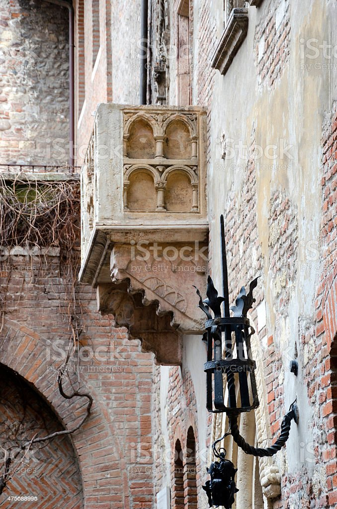 The Famous Balcony of Juliet Capulet Home in Verona, Italy stock photo
