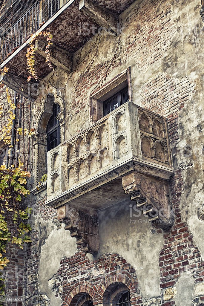 The famous balcony of Romeo and Juliet stock photo