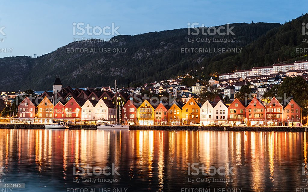 The famous Bryggen Hanseatic wharf houses in Bergen, Norway. stock photo