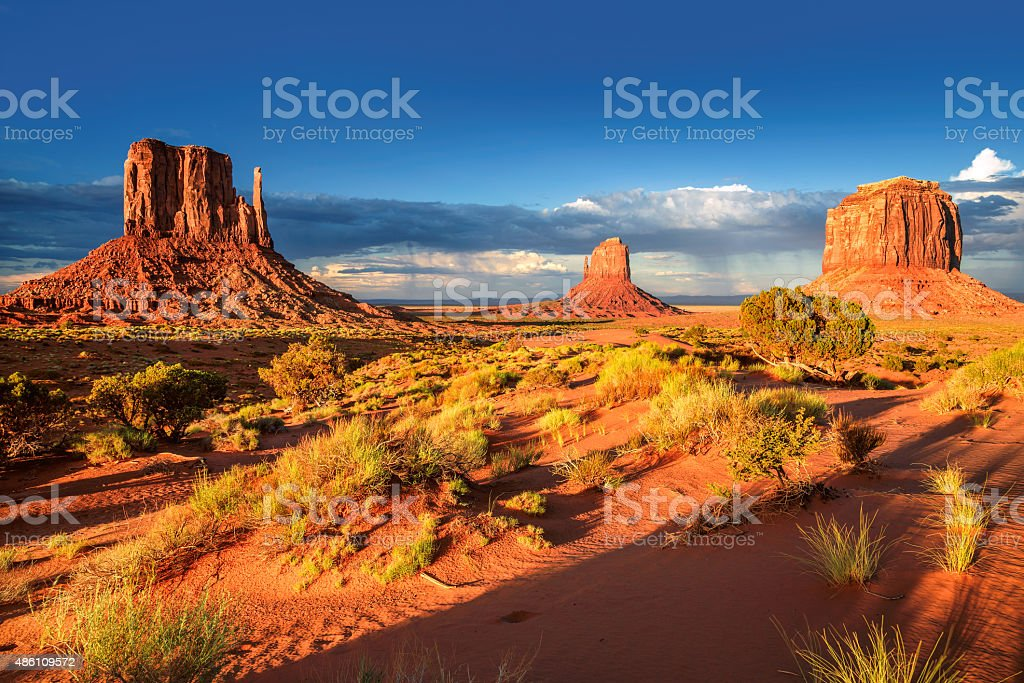 The famous Buttes of Monument Valley at sunset, Utah stock photo