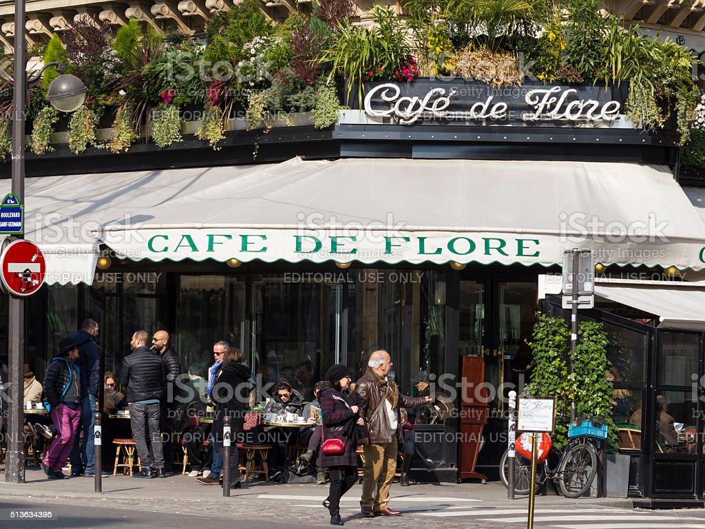 The famous cafe De Flore, Paris, France. stock photo