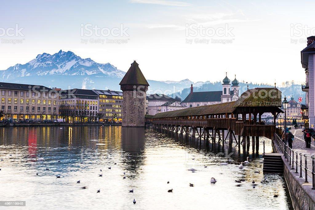 The famous Chapel Bridge in Lucerne, Switzerland. stock photo